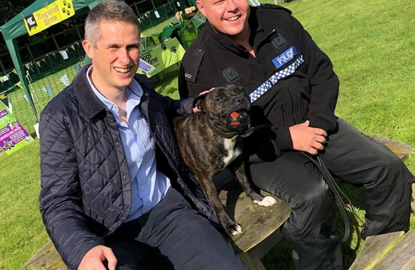 Gavin with Cooper, the Police Dog